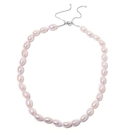 Designer Inspired- Double Lustre Fresh Water White Pearl Adjustable Necklace (Size 18 to 24) in Rhodium Overlay Sterling Silver.