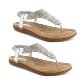 OLLY Samba Toe Post Comfort Sandal in Silver Colour