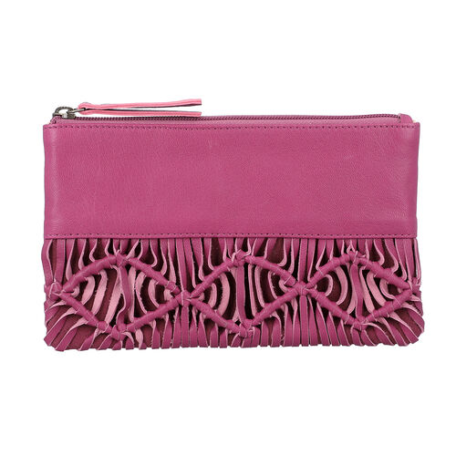 Hand Woven Macrame 100% Genuine Leather Clutch Wallet (Size 21x13cm) -  Congo Pink