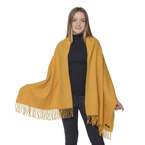 Warm Ladies Shawl with Fringes (Size 63x170+10cm) - Yellow