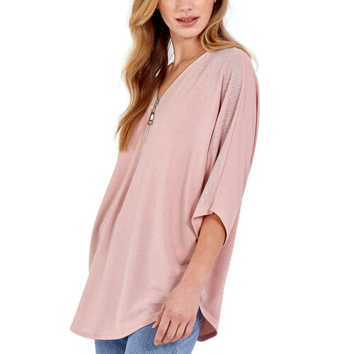 Nova of London - Zip Front Diamante Loose Fitting Pink Top (M/L, 16-18)