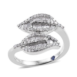 GP- Energy of Life Collection- Diamond (Bgt and Rnd), Kanchanaburi Blue Sapphire Leaves Crossover Ring in Platinum Overlay Sterling Silver 0.530 Ct, Number of Diamonds 114