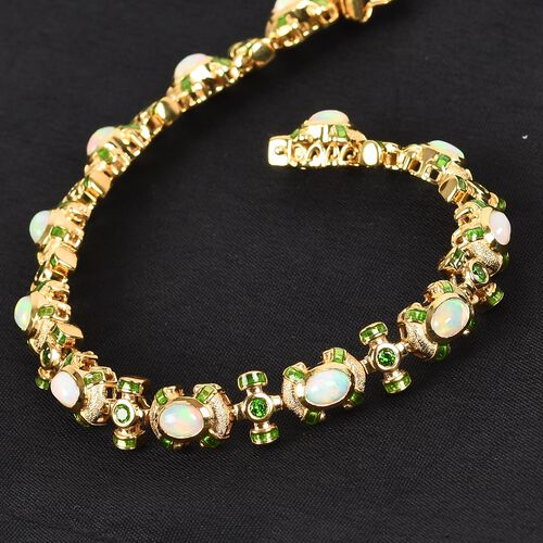 Ethiopian Welo Opal and Russian Diopside Enamelled Bracelet (Size 7.5) in 14K Gold Overlay Sterling Silver 4.50 Ct, Silver wt. 20.00 Gms