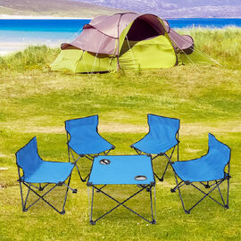 5 Piece Set - Outdoor Table and Four Chairs (Size Chair: 56x35x34 Cm, Table: 37x46 Cm) - Blue