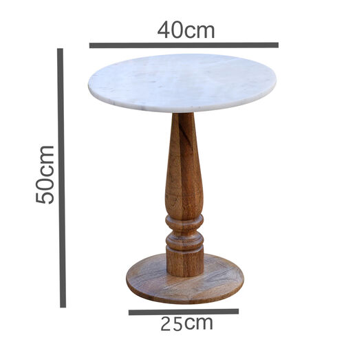 Luxury Edition- Marble Round Side Table (Cream).Size Top 40X40 cm Height 50 Cm