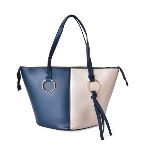 Delia Spring Collection Colour Block City Bag with External Zipper Pocket (Size 44x30x27x20 Cm)
