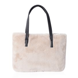 Super Soft Cream Colour Faux Fur Large Tote Bag (Size 36x26 Cm)
