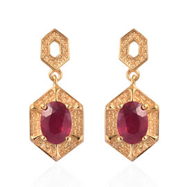 Designer Inspired African Ruby Earrings (with Push Back) in 14K Gold Overlay Sterling Silver 2.00 Ct
