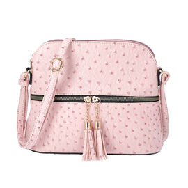 Designer Inspired - Ostrich Embossed Crossbody Bag with Tassel Zipper (Size 26x10x23cm) - Pink