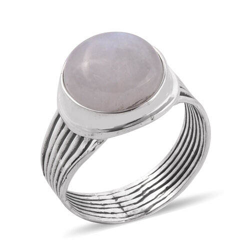 Bali Legacy Collection Rainbow Moonstone Round Hand Bezel Solitaire Ring in Sterling Silver 9.57 Ct.