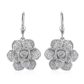 Limited Edition - Diamond Platinum Overlay Sterling Silver Lever Back Earring  1.010  Ct.