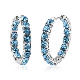 J Francis - Crystal from Swarovski Aquamarine Colour Crystal (Rnd) Hoop Earrings (with Clasp) in Pla