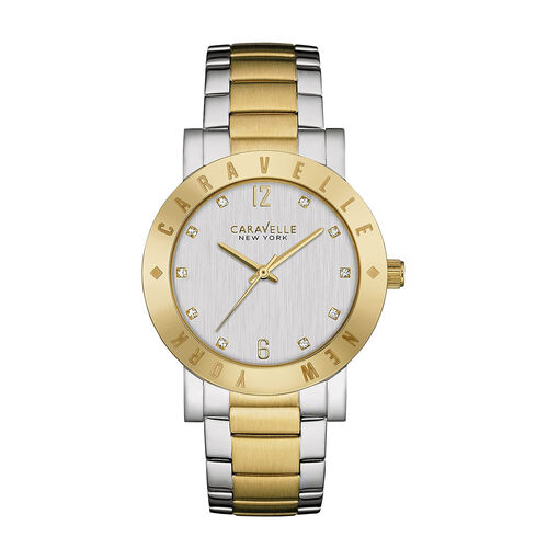 CARAVELLE Two Tone Gold and Silver Etched Bezel Watch - 36mm - up to 9in