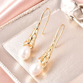 RACHEL GALLEY - Freshwater White Pearl Dangle Hook Earrings in Yellow Gold Overlay Sterling Silver