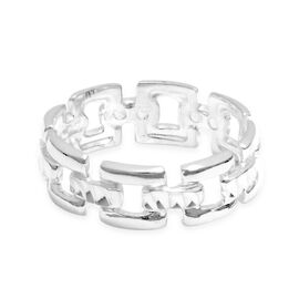 Viale Argento Sterling Silver Square Link Chain Ring