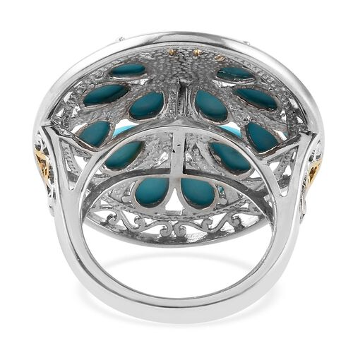 AA Arizona Sleeping Beauty Turquoise (Pear) Tree of life Ring in Platinum and Yellow Gold Overlay Sterling Silver 5.00 Ct, Silver wt 8.18 Gms