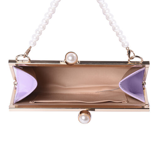 Light Purple Clutch Closure Crossbody Bag with Dangling Pearl Chain and Metallic Shoulder Strap in Gold Tone