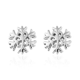 RHAPSODY 950 Platinum Snow Flake Earrings (with Screw Back)