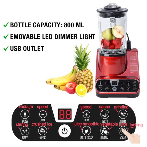 Super Auction- Multipurpose 25000-28000 RPM Vacuum Table Blender (1.5 L) (Including a Vacuum Bottle, a Vacuum Container and Two Vacuum Bags) - Red