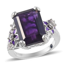 GP 7.75 Ct Amethyst and Multi Gemstone Floral Ring in Platinum Plated Sterling Silver