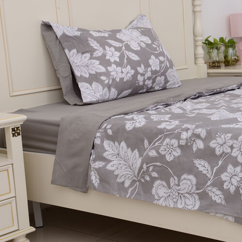 Set of 3 - Grey Colour Microfiber Printed Fabric Duvet Cover with Floral Design (Size 200x140 Cm), Fitted Sheet (Size 220x90 Cm) and Grey Pillow Case (Size 75x50 Cm)