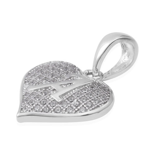 ELANZA Simulated Diamond (Rnd) Heart Initial A Pendant in Rhodium Overlay Sterling Silver