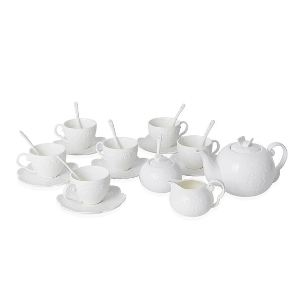 22 Piece Set - Art Deco - Butterfly Embossed Tea Set (Consists of 6 Cups, 6 Saucers, 7 Spoons, 1 Sug