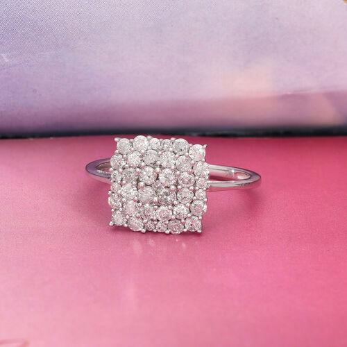 9K White Gold SGL Certified White Diamond (I3/G-H) Ring 1.00 Ct.