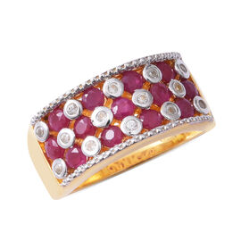 2.38 Ct Burmese Ruby and White Zircon Band Ring in Sterling Silver 6.2 Grams