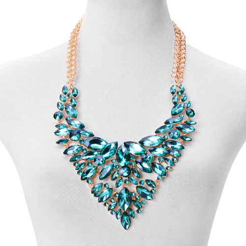 Simulated Emerald Crystal Statement Necklace (Size 24) Silver Plated