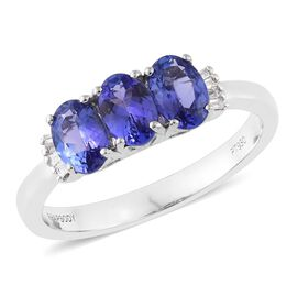 RHAPSODY 950 Platinum AAAA Tanzanite (Ovl 6x4mm), Diamond (VS/E-F) Ring 1.38 Ct.