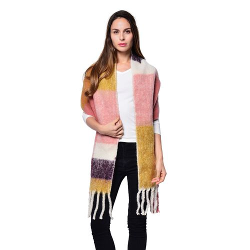 Purple, Pink, White and Yellow Colour Scarf with Tassels (Size 200x47 Cm)