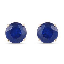9K Yellow Gold Tanzanian Blue Spinel Stud Earrings (with Push Back) 1.50 Ct.