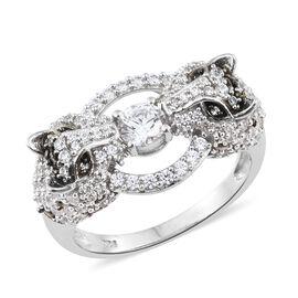 J Francis - Platinum Overlay Sterling Silver (Rnd) Leopard Ring Made with SWAROVSKI ZIRCONIA. Silver