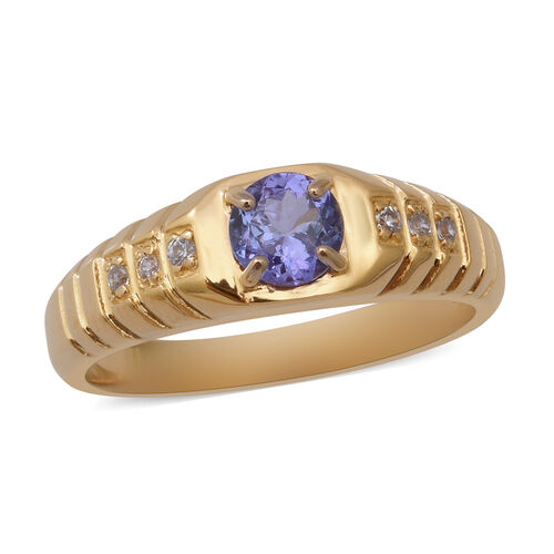 1 Carat Tanzanite and Zircon Solitaire Ring in Gold Plated Sterling Silver