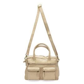 Super Soft 100% Genuine Leather Beige Colour Satchel Shoulder Bag with Multi Pockets (Size 32x23x9.5