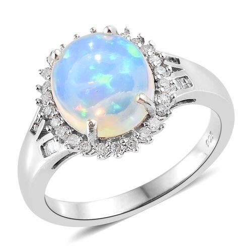 Rare Size - Ethiopian Welo Opal (Ovl 12x10mm), Diamond Ring in Platinum Overlay Sterling Silver 3.000 Ct.
