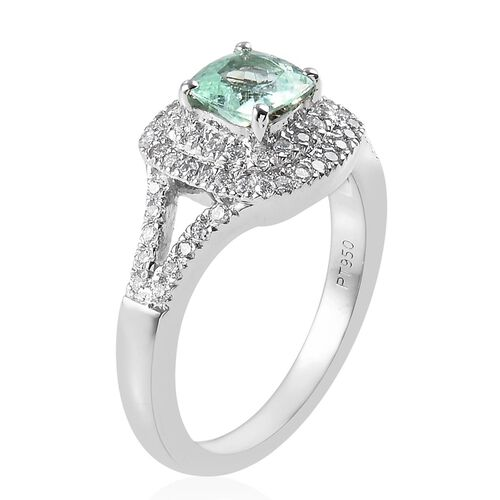 RHAPSODY 950 Platinum Mozambique Paraiba Tourmaline and Diamond (VS/E-H) Ring 1.08 Ct, Platinum wt 6.50 Gms