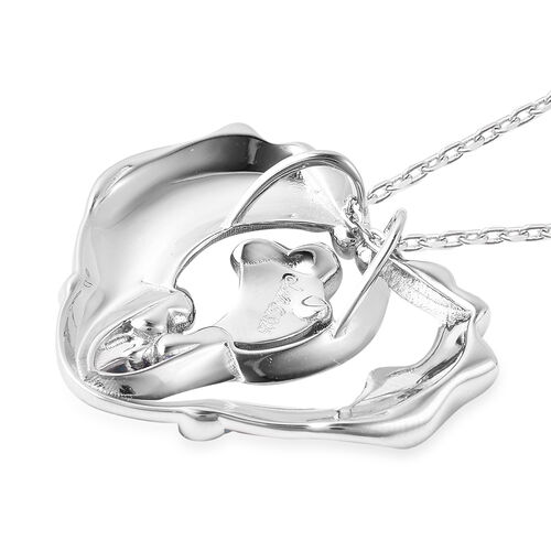 Isabella Liu Embrace Scar Collection Rhodium Overlay Sterling Silver Enamelled Heart Style Pendant With Chain (Size 30)