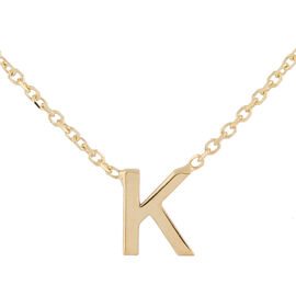 Hatton Garden Close Out - 9K Yellow Gold Initial K Necklace (Size 15 with 2 Inch Extender)