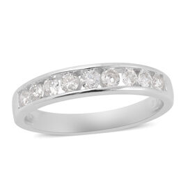 NY Close Out Deal- 14K White Gold Diamond (I2-I3/G-H) Half Eternity Band Ring 0.50 Ct.
