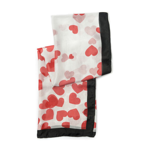 New Season- Love Hearts on White - 100%  Mulberry Silk Over-Sized Scarf (Size 180x100)