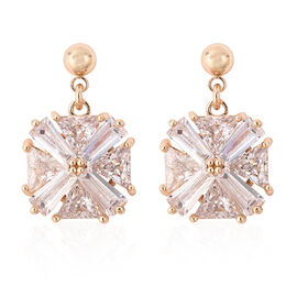 Simulated Diamond Drop Solitaire Earrings in Yellow Gold Tone