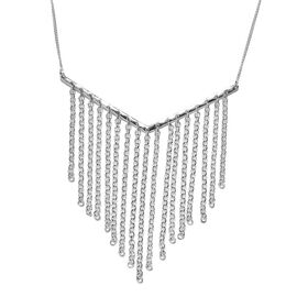 One Time Deal Designer Inspired- Platinum Overlay Sterling Silver Necklace (Size 18).Silver Wt 6.66 Gms
