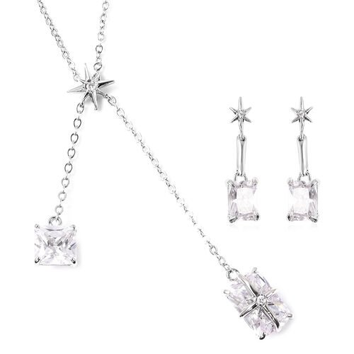 Set of 2 - Simulated Diamond Necklace (Size 20 with 3 inch Extender) & Earrings (with Push Back) in