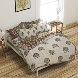 One Time Deal-100% Cotton Hand Quilted Block Print Quilt in Mughal Style (Size 220x150 Cm) - White a