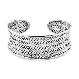 Woven Design Cuff Bangle in Sterling Silver 26.71 Grams 7.5 Inch