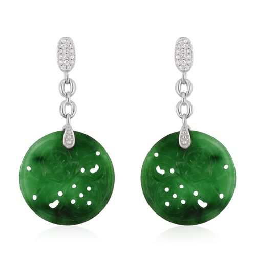 Hand Carved Green Jade Earrings (with Push Back) in Rhodium Plated Sterling Silver 18.000 Ct.