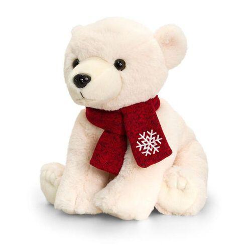 Keel Toys - Cream Colour Polar Bear with Red Colour Scarf (Size 25 Cm)