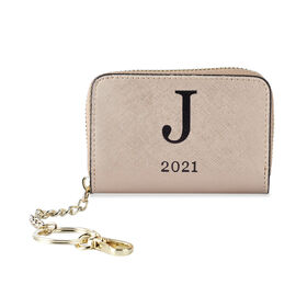 Genuine Leather Alphabet J Wallet with Engraved Message on Back Side (Size 11X7.5X2.5 Cm) - Gold